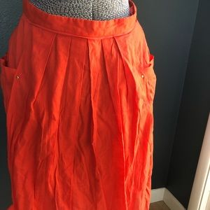 Anthropologie Odille coral midi skirt 4
